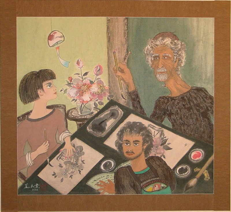 older male figure with salt and pepper colored hair at UR carefully poised holding calligraphy brush in PR hand over a pink and black image of a large blossom; across the table, a young female student mimics his gesture over her own black and white image; at lower center, a young male student with beard points at an open book with his PL hand