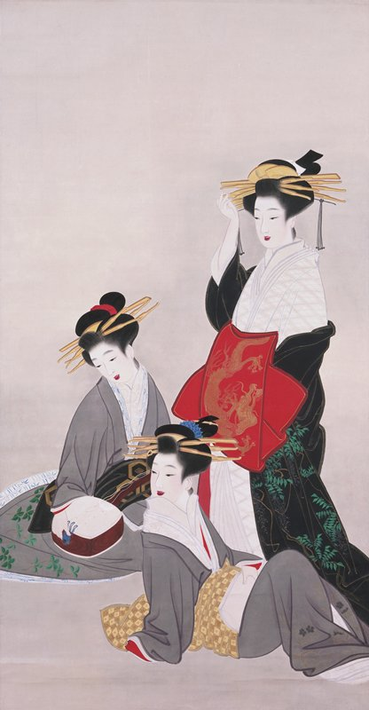 three elegantly dressed women; standing woman on R facing R and wearing white, red, and black; two seated women wearing grey