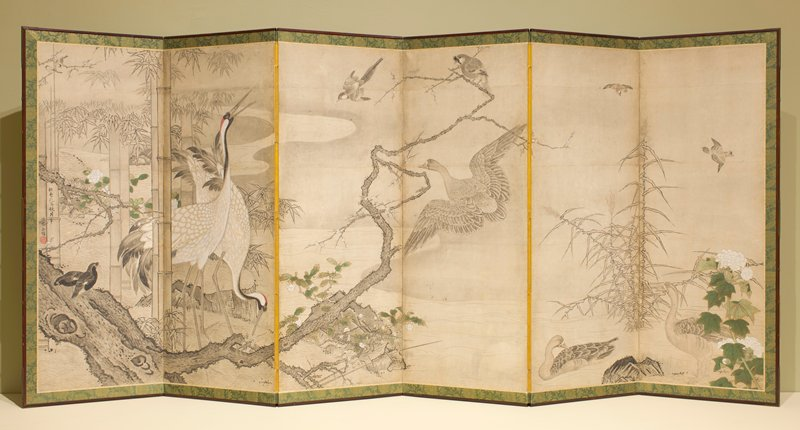 pallette is predominanty beige, grey, white and green; two white cranes on panel 2 with several other birds and ducks; bamboo on L; painting on back of screen also