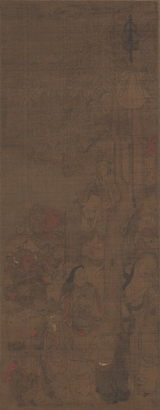 unsigned; faded, darkened image of several seated figures crying and facing L: group of decorated figures seated upper center; robed monk at L with beard; skinny, bald figure at LLQ, and white robed figure LRC near demon