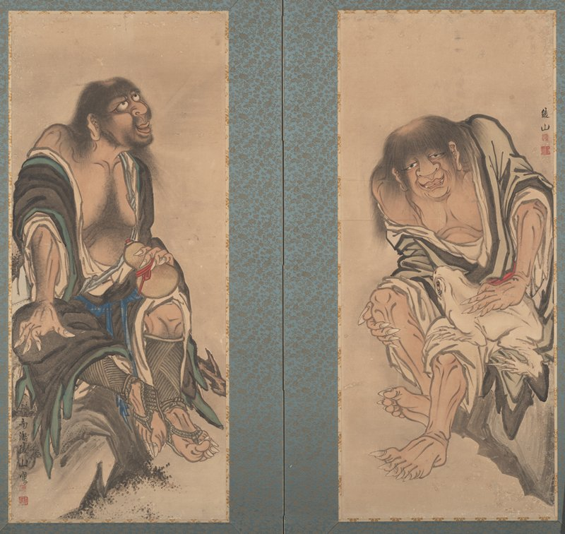 two-panel screen with two separate images; L panel: scruffy male figure seated on rock with flat bald spot on head, gazing to UR; robes open; holding gourd in PL hand, PR hand on knee; very long and pointed fingernails and toenails; R screen: shaggy male figure in open white robe seated on rock stroking large white frog with PL hand; looks out at viewer with half closed eyes; mouth slightly open showing two pointed teeth; flat bald spot on head