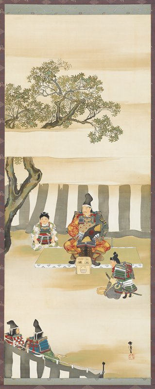 seated soldier at center wearing armor and holding a black and gold fan with a red circle; young boy at left wearing white and green patterned kimono and breastplate; three other soldiers--one kneeling at right before central man and two seen 3/4 view from back in LLC; tree at left