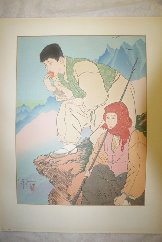 two figures on a mountain ledge; figure in back wears loose tan garment with green vest, resting on PR leg eating a persimmon; figure in foreground wears black flowing pants, pink vest, orange billowing shirt, and red headscarf, sitting with staff in PR hand; mountains and birds in background