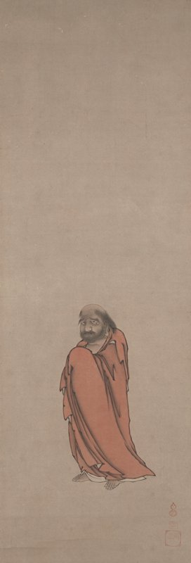somewhat forlorn looking figure holding tattered red robe together in front of body standing with feet slightly splayed apart; looking outward towards PL; large, gold hoop earring in PL ear; shaggy eyebrows and beard; large open eyes; shaggy hair around temples but bald head at top; very long toenails