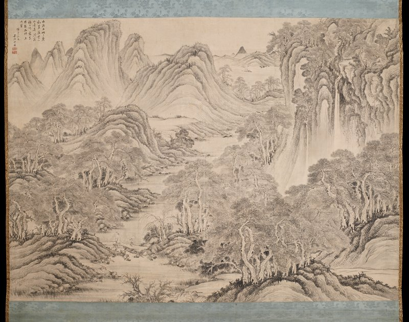 landscape with waterfalls at URQ, rounded mountains in ULQ, two figures on a bridge in LLQ and trees in LRQ