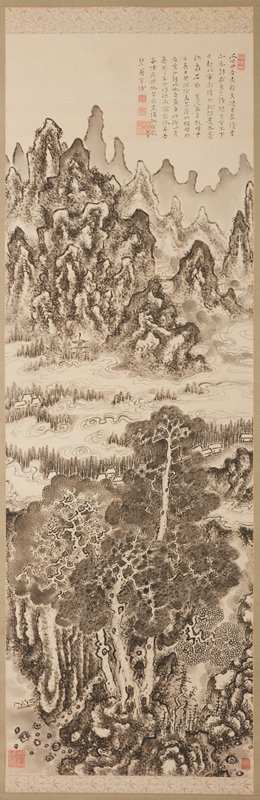 flame like mountains in background with swirling clouds; pagoda at base of mountains at L; dense trees lower center with small huts, large rocks; small figure in fishing boat LLC