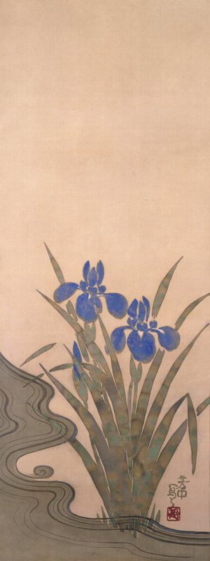 iris plant with two blue blossoms, and a third blue bud growing along a swirling stream; foliage has mottled appearance; winding stream along LL and bottom edge