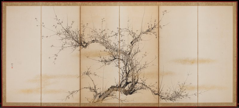 "gnarled plum branches with blossoms; black in and wash with ""clouds"" of gold spots"