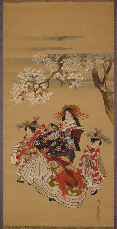 woman strutting with coy look on face below cherry tree in full blossom; flanked by a young girl on either side; woman is wearing voluminous, sumptuous kimono with fierce dragon and peonies; girl on PR holds long object wrapped in red; both girls wear huge headpieces