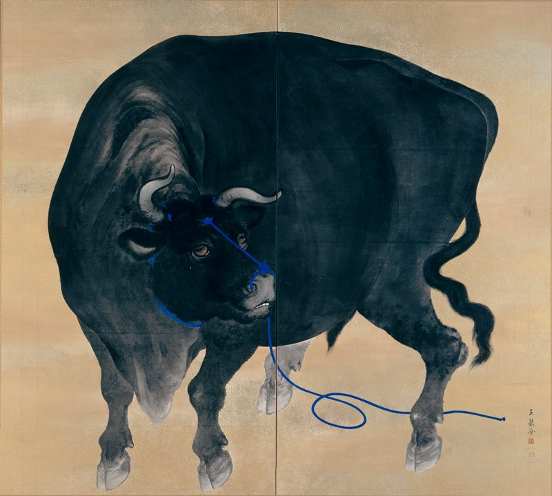 two panel screen; black bull with head turned to PL; blue rope around bull's neck and horns and through nose, trailing through hind legs