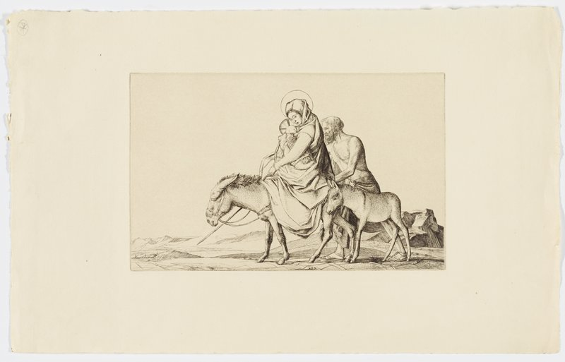 woman with halo and draping dress riding donkey, holding swaddled baby with halo; tired looking man with shaggy hair and beard follows closely steering a donkey; a younger donkey follows; desert background and mountains