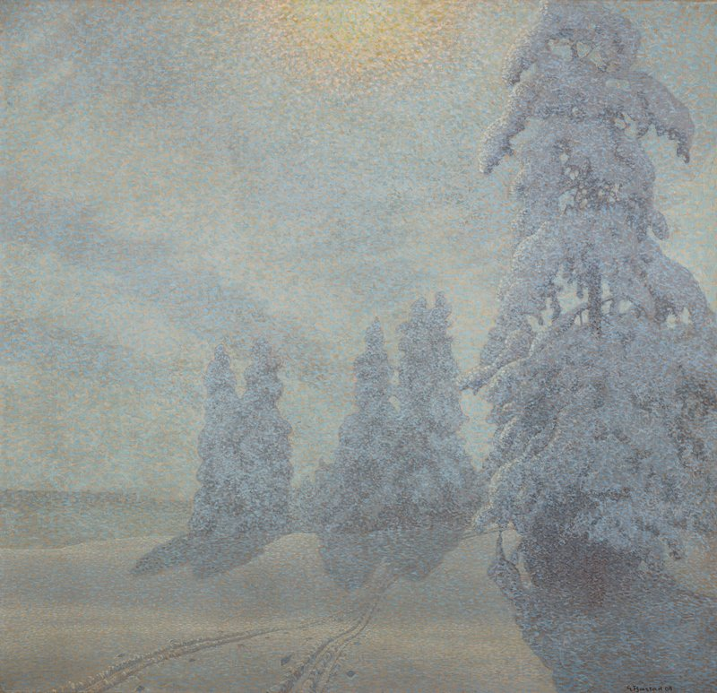pointillist style; shades of white, blue, blue-grey, cream; snow falling; snow-covered ground with two pairs of tracks in foreground, LRQ; five snow-covered evergreen trees