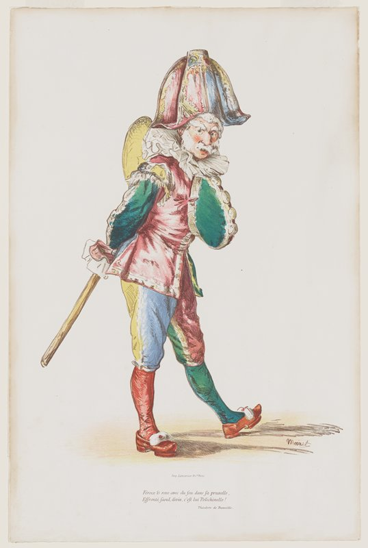 standing figure with white hair, bushy white eyebrows, large white moustache, wearing a hat with a rounded top, colorful jacket and knickers, and one red stocking and one green stocking, with orange shoes, holding a walking stick; text printed at bottom