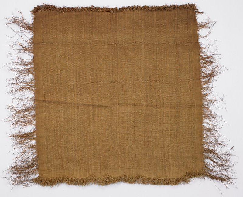 Tan cloth with subtile woven zigzag and diamond design; long fringe on 2 sides, with short fringe on one short side and knotted fringe opposite