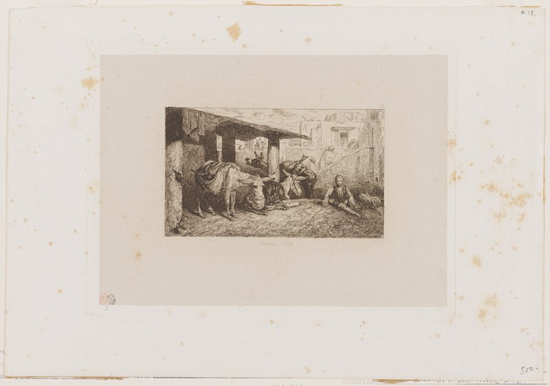 young person seated on ground in LRC; three donkeys at left under an overhang--two standing, one wearing feed bag, one lying down--all with bundles on their backs; bearded figures with turbans in background in URQ