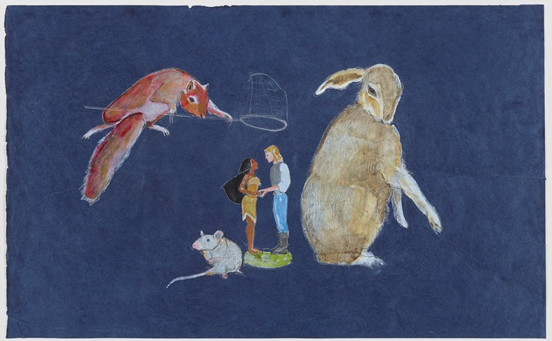 figures of Disney characters of Pocahontas and John Smith holding hands at center; squirrel in ULQ dropping a small net over figures; white mouse to left of figures; tan rabbit at right; blue paper