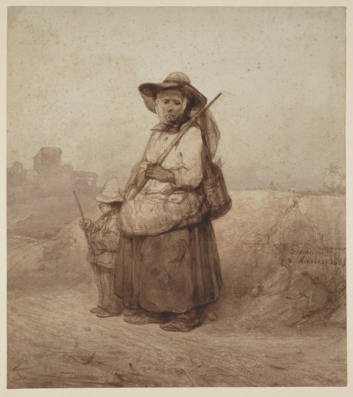 standing woman wearing dark long skirt, white blouse, hat with wide brim and scarf tied around her head, with bundles on her back and around her waist, carrying a staff in her PL hand resting on her PL shoulder; little boy standing to left of woman, wearing pants, jacket and light-colored hat, holding a stick in his PR hand