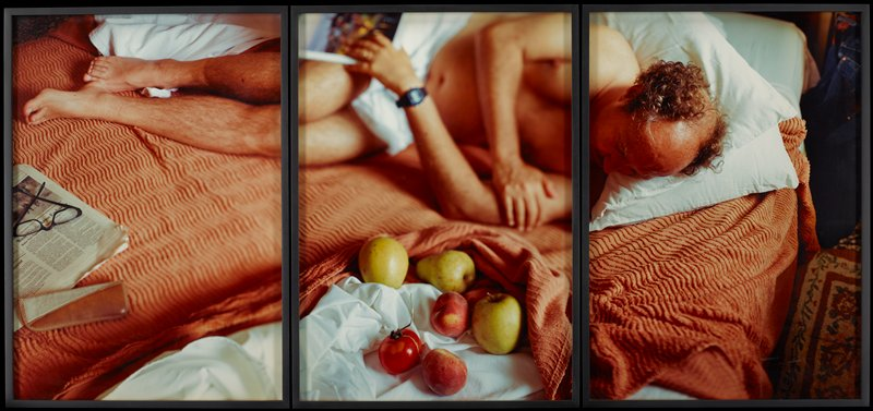 triptych of middle-aged man sleeping on bed with fruit, newspaper and eyeglasses; salmon-colored bedspread; black frames