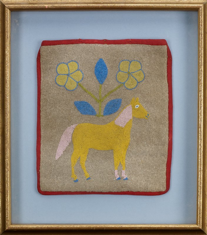 pouch (or panel?) with rectangular beaded field with red wool edges; clear beads on ground; beaded yellow horse in profile with pink mane and tail and blue hooves; symmetrical beaded flower spray at top with two five-petaled yellow flowers with blue edging, three blue leaves and green stems; received framed