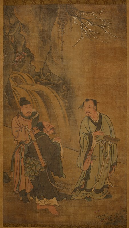 three robed figures standing at the base of a waterfall at L; branches of a blossoming tree at top; man at R holds a fan, while center man stands in profile with open mouth, and clasped hands; man at L is holding up one hand