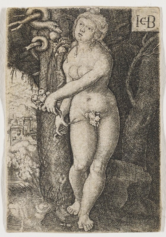 nude female figure leaning against tree awkwardly stretching PL arm across chest while holding a twig with a strategically placed leaf in her PR hand; serpent at UL with fruit in its mouth