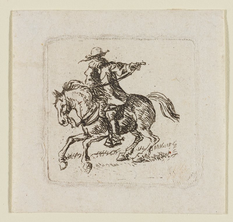 male figure riding a horse toward L, holding reins out to the PL