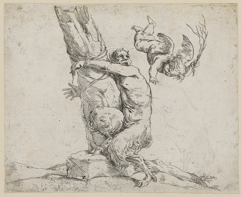 airborne cupid whipping a satyr who is tied to a tree
