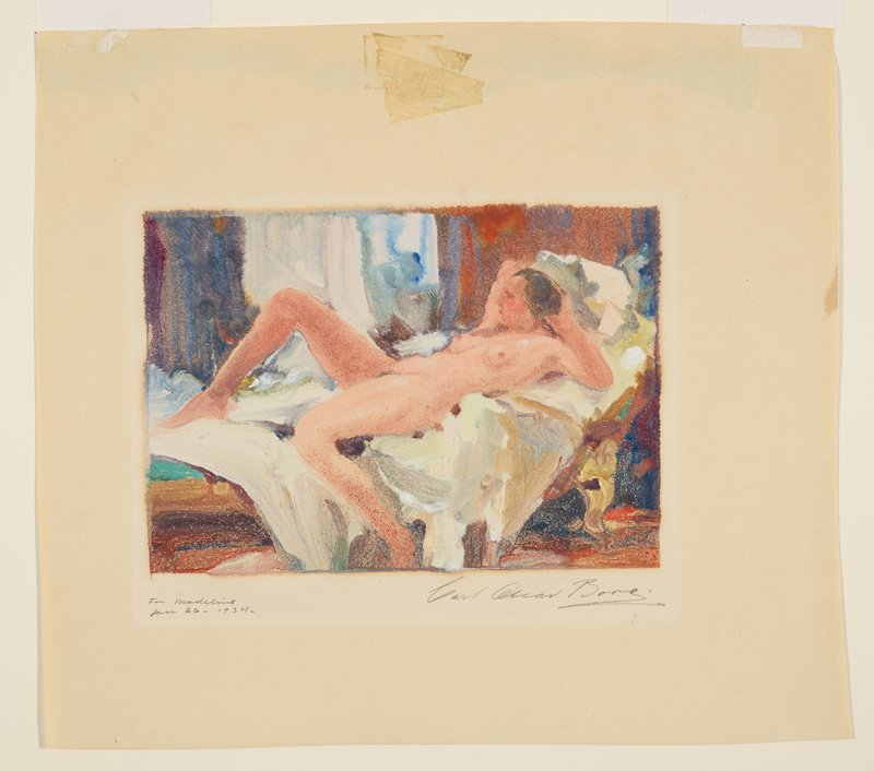 nude woman with brown hair reclining on a couch with a white sheet over it; painterly style