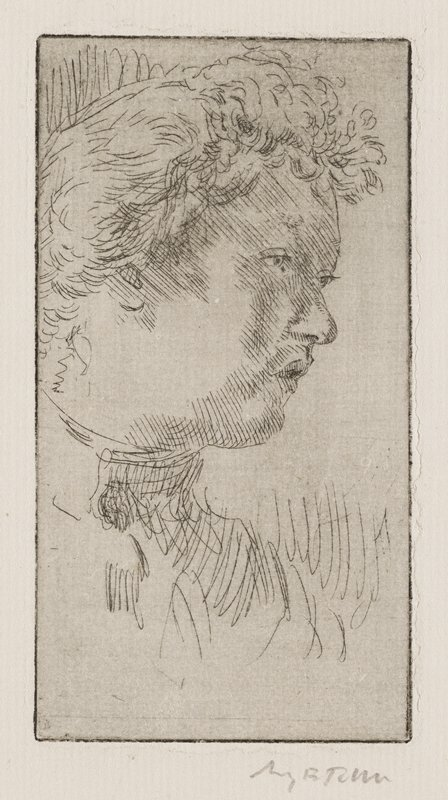 3/4 profile of woman with slightly open mouth, gazing to LR; high-necked dress; full, curly hair near forehead