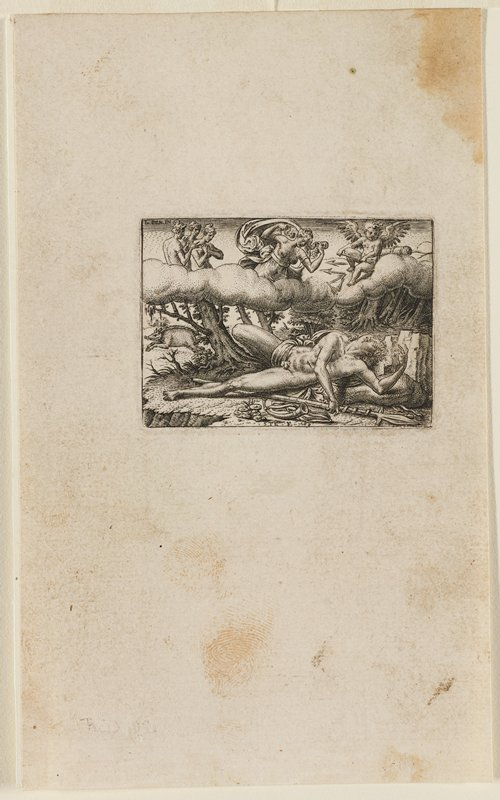 nude male figure lying with PL arm over head; PR arm stretched over body, holding onto a spear; angels and cupids in clouds above looking on sadly; wild boar at L; trees on cliff