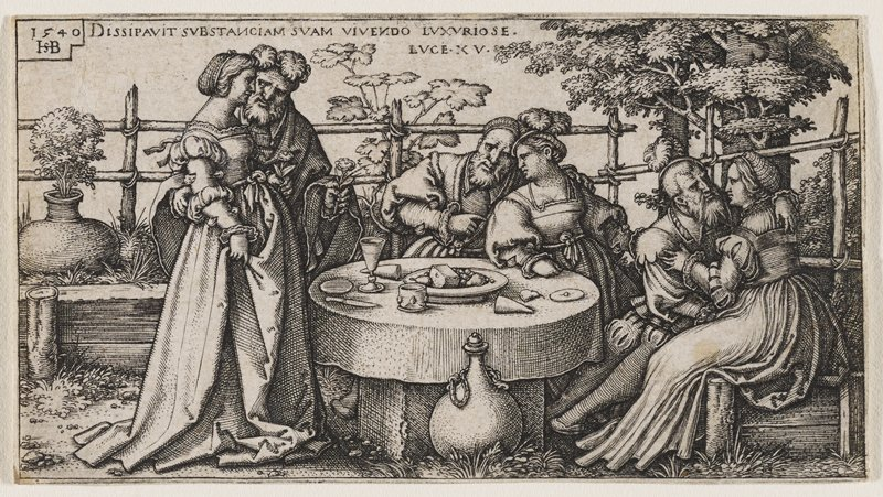 small round table at center of scene with cheese and wine; three carousing couples around table; jug of wine at bottom center