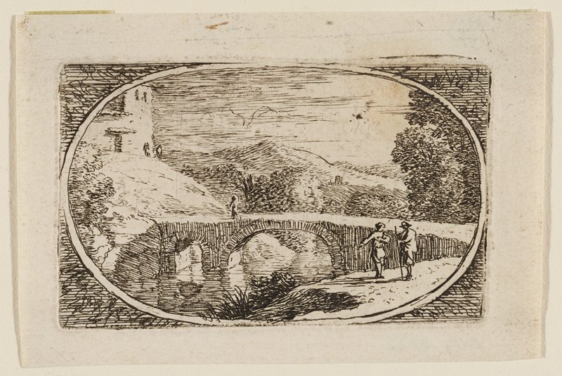 image, circumscribed by an oval, of a bridge with two figures at R talking; smaller figure crossing bridge on L side; hills, stone building in background