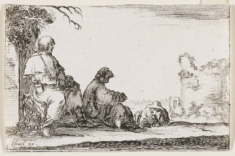 three men relaxing in the shade at L: one is seated on a carved bench holding a staff; another is seated on the ground, and one is reclining on stomach, resting head in hand; ruins at R