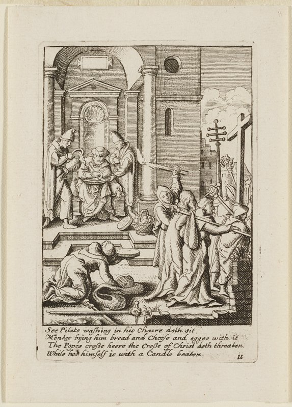 small group of men at R carry weapons and one man raises a burning candle over Christ, who walks toward R, with back turned away from viewer; man crawling at LL; two men serve a man seated on a throne in back; crucifix stands at R edge