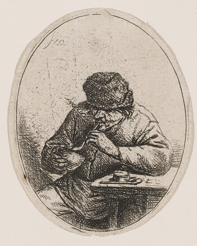 oval-shaped print: portrait of a seated man in cap with PL elbow resting on table; holding pipe in mouth with PL hand, and a bowl or pouch to the pipe with opposite hand; paraphernalia on table