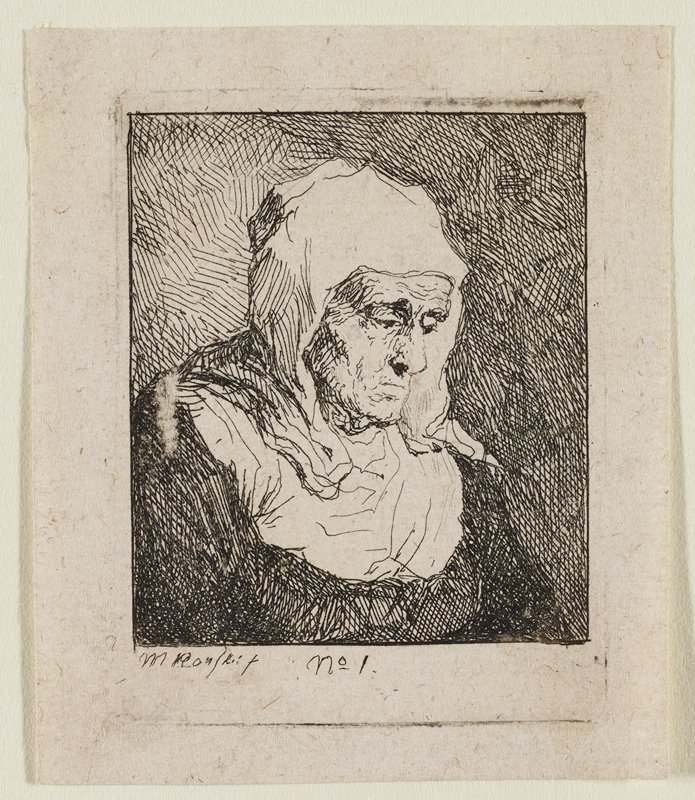 3/4 view of an old woman looking down to R; white bonnet covering head, down shoulders, to white collar