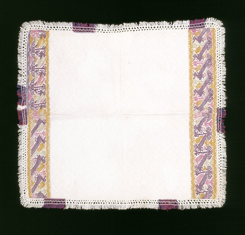 white plain cotton weave with white supplemental weft and color (tan, purple, pink, green); supplementary weft at borders