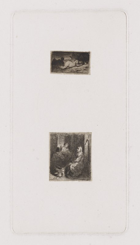 top image: nude female reclining on PL side; dark shadowy figure at L bottom image: woman sitting on chair near a store at L; two men seated across from her in slight shadow at L; bucket at her foot; wooden pillar behind woman