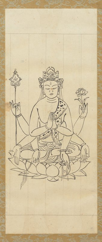 framed: figure seated cross-legged on lotus blossom, with four sets arms; two of the hands are praying in front of chest; two are held up at sides, one holding scepter and the other holding a lotus blossom; two are extended outward with open, outward palms; and two are down, with one hand holding beads, and the other a small whip-like object; figure has headdress and decoration on forehead