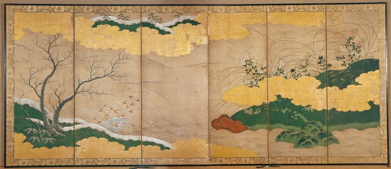 green hills amid golden clouds at R with clusters of white, blue, and pink flowers; grass fronds; waves along bottom; snow covered hills at L; snow covered tree branches and autumnal foliage and grasses against waves at R