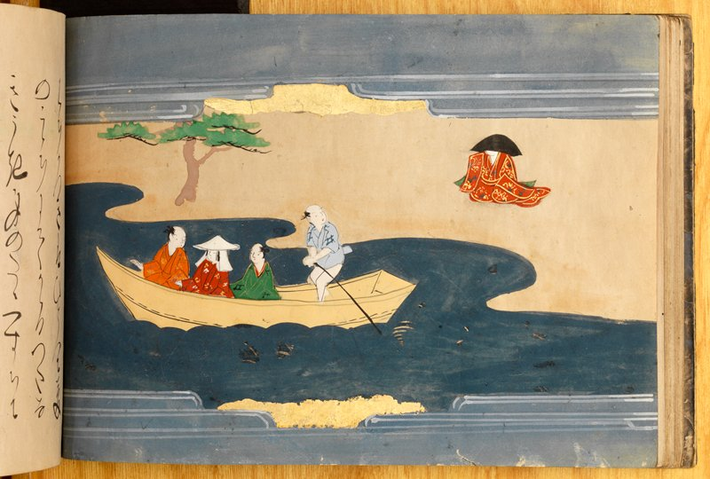 book with brightly colored images interspersed with may pages of text; images of men and women indoors; image with man and woman inside a temple with monk; woman lying on a mat with mourners; man and woman crying; navy blue cover with title on decorated paper; silver lining inside cover