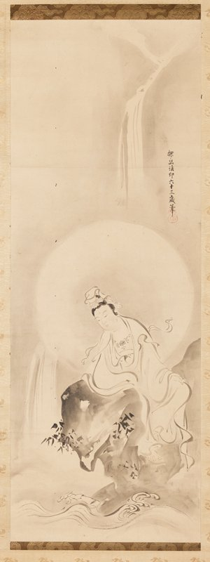 female figure in flowing white robes leaning over a rock, watching waves crash against the rock; waterfall in background; halo around figure