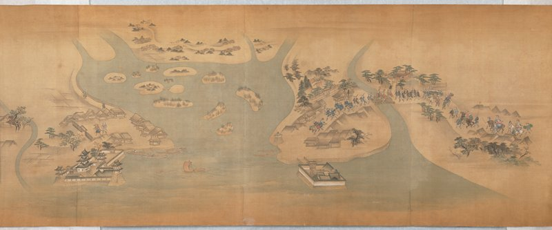colorful images of a daimyo procession leaving Edo, traveling through the various notable stops and stations of the Tokaido road; castles, villages; tea houses; mountains, and other landscapes; stops are labeled in gold pigment