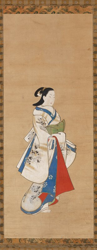 woman in 3/4 pose wearing white kimono decorated with gold fog and wispy chrysanthemum blossoms; blue and red hems; green obi