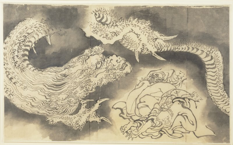 framed; grayscale; image of a multi-headed dragon snaking across image, doubling back over a pile of human figures at LR