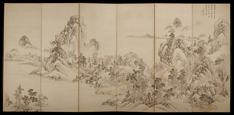 landscape with some mountains at left and right and scattered buildings; waterfall in LRC; two walking figures, second panel from right, at bottom; two men in boad, LLQ; five-line inscription in black and three red seals, URC; tan paper backing