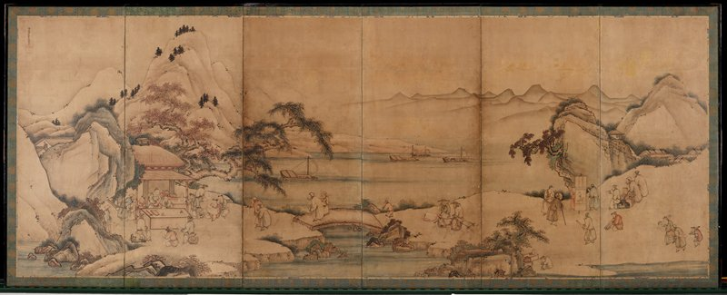 six panel screen: group of people at R carrying and displaying hanging scrolls at the bases of mountains; harbor with ships at C with people traveling on road, with some traveling on horses; mountains at L with men gathered around a table with a paper inside a hut with thatched roof