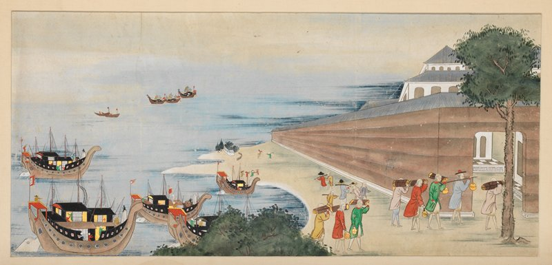 unsigned; ships entering harbor at L; Western men unloading ships, and walking into walled port at R; multi-storied white building peeking over wall at far R