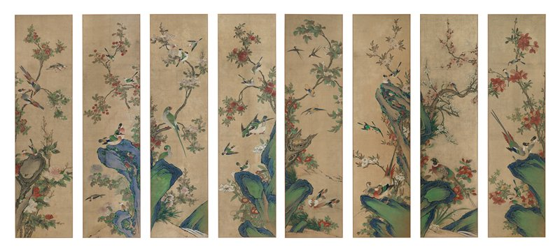 eight panels of colorful birds perched on branches or rocks, or flying; vivid blue and green rocks in background; brilliantly blossoming peonies, lilies, and other flowers throughout