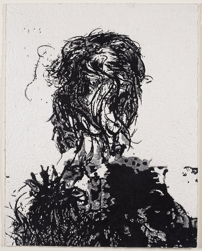 abstract image; black on white; portrait-like silhouette with head and shoulders but without facial features or clothing--organic twining plant-like forms with twisted thorny branches on face